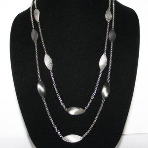 Beautiful double strand long silver necklace